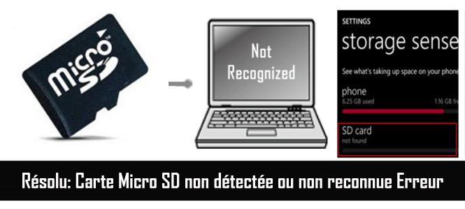 reparer carte micro sd ▷ Probleme carte memoire non reconnue : Infos et ressources